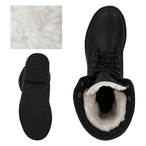 napoli-fashion Warm Gefütterte Damen Stiefeletten Outdoor Boots Kunstfell Stiefel Jennika Schwarz Black Weiss