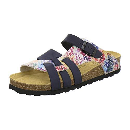 AFS-Schuhe AFS-Schuhe 2122 Damen Pantoletten aus echtem Leder, hochwertige Hausschuhe für Frauen mit Eva-Sohle, Made in Germany Größe 36 EU Blau (blau)