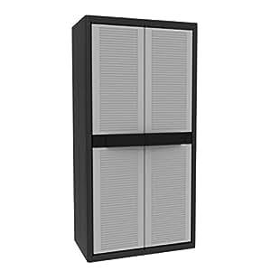 kunststoff schrank gartenschrank xl mit 3 b den grau schwarz 90 x 54 x 180 cm garten. Black Bedroom Furniture Sets. Home Design Ideas