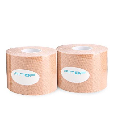 2x FITOP Kinesiologie Tape Elastisches Klebeband 5m x 5cm (Beige)