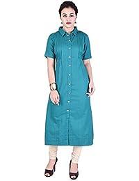 VAIDIKI Plain Green Colour Designer Front Slit Long Half Sleeve Kurta Latest Collection For Ladies