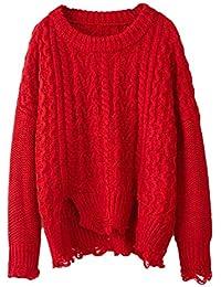 a555ea78fc1a BOLAWOO Sweater Damen Langarm Rundhals Zerrissen Löcher Knit Pullover Jumper  Mode Marken Winter Herbst Elegante Locker Lässig…