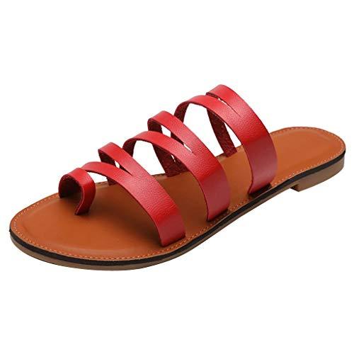➤Refill ➤Damen Cross Slide Sandalen-Flat Strappy Sandal Zehentrenner-Peeptoe Sandalen- Slingback Sandalen-Frauen Flip Flops Roman Schuhe Strand Hausschuhe -