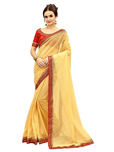 Glory Sarees Women's Net Saree(fancy101red_red)
