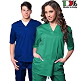 f689c6080590b0 AIESI Divisa Ospedaliera unisex uomo donna in cotone 100% sanforizzato  pantaloni + casacca scollo a