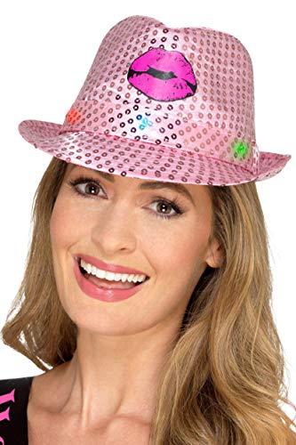 Smiffys SMIFFY 'S 48336Light Up Pailletten Hen Party Trilby Hat, Pink, One Size (Up Kostüm-ideen Light)
