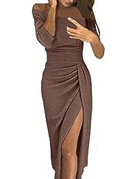 Robe Moulante à épaules dénudées, GreatestPAK Femmes Haute Fente Asymétrique Longue Maxi Robe Automne Hiver Manches Longues Robes De Soirée