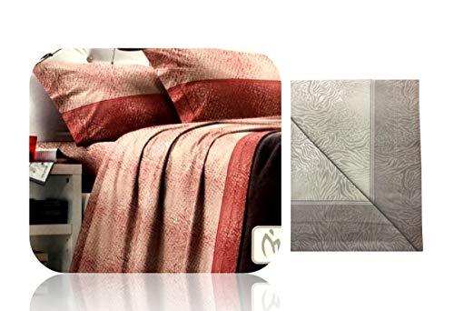 Menitashop completo letto in flanella lenzuola matrimoniale e singolo prodotto italiano buona qualità (dis.1382(m) tortora, singolo)