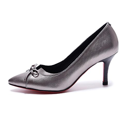 W&LMeinzelne Schuhe spitz Shallow Mund niedrige Hilfe Schuhe fein mit Im Fersen Damenschuhe Silver