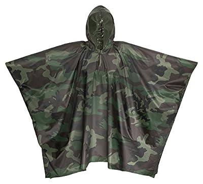 Premium Regenponcho Camouflage / Tarnmuster 100% Wasserdicht Mit Kapuze - Perfekt Als Regenjacke Für Festivals, Camping, Fahrrad, Wandern - One Size Fits All - Damen - Herren