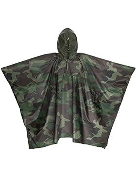 Premium Lluvia Poncho camuflaje/camuflaje 100% resistente al agua con capucha–perfecto como Lluvia Chaqueta...