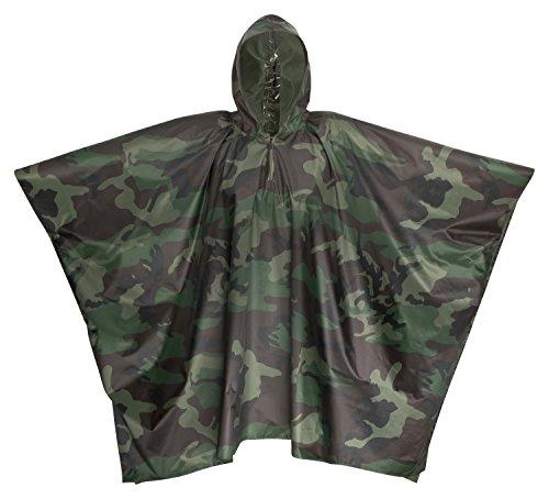 Premium Regenponcho Camouflage / Tarnmuster 100% Wasserdicht Mit Kapuze - Perfekt Als Regenjacke Für Festivals, Camping, Fahrrad, Wandern - One Size Fits All - Damen - Herren (Camouflage Everest)