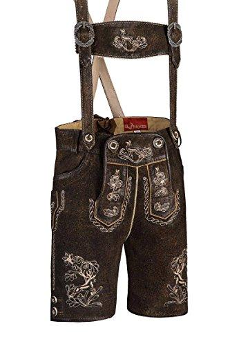 MOSER® Trachten Kinder Lederhose Kurz Dunkelbraun Leopold 002392 von, Material Leder, Größe 158