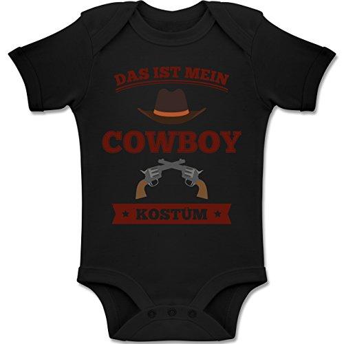 Shirtracer Karneval und Fasching Baby - Das ist Mein Cowboy Kostüm - 18-24 Monate - Schwarz - BZ10 - Baby Body Kurzarm Jungen Mädchen