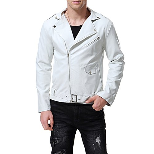 ea6db0b05 AOWOFS Men's Faux Leather Jacket Stylish Lapel Punk Motorcycle White Coat