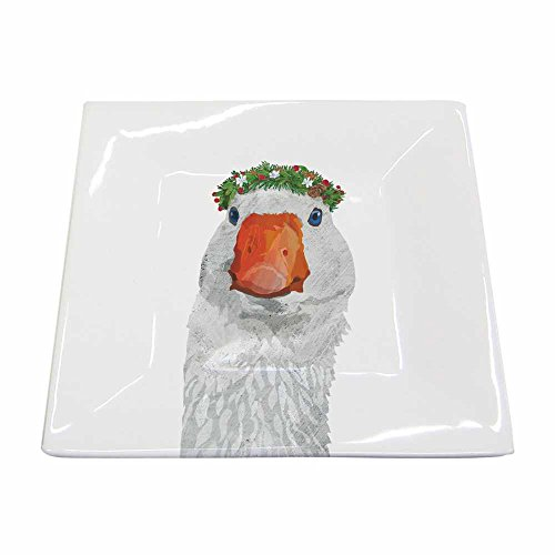 Paperproducts Design New Bone China Small Square Plate Featuring The Distinctive Glacier Goose Design, 5.75 x 5.75