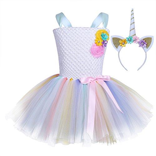 Iefiel costume da principessa ragazze unicorno per bimbina con vestito lungo carnevale ballerina halloween cosplay festa battesimo cerimonia compleanno abito arcobaleno bianco 2 10-12 anni