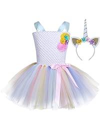 iEFiEL Vestido de Princesa Fiesta Cumpleaños para Niña Vestido Traje de Ceremonia Actuación ...