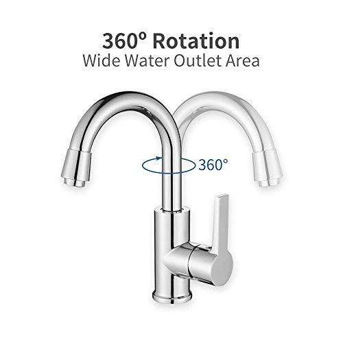 Homelody 360° Drehbar Mischbatterie Chrom Wasserhahn Küche Bad Armatur Küchenarmatur Waschbeckenarmatur - 2