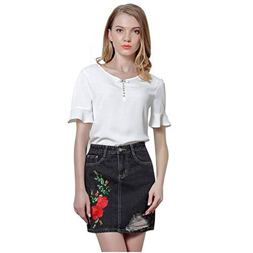 GYYWAN Röcke Frauen Gestickte Blumen Hohe Taille Echte Taschen SchlankeSchwarze Kurze Frauen MiniJeans Rock -