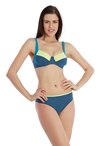 SUNSET Bikini Blau sportlich Schimmer Streifen Dreifarbig Bügel-BH (2154) - 42 - Sexy Schimmer
