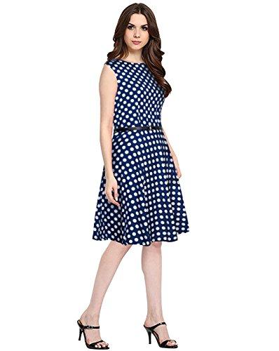 Morang Women\'s Crepe Western Wear A-Line Dress (MM-9842, Blue, Medium)
