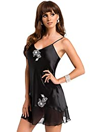 Beautiful Black Satin Floral Embroidered Luxury Nightdress Nightie Large (Up 12-14)