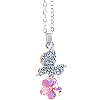 Matashi Rhodium Plated Necklace with Butterfly Alighting on a Flower Design with a 16