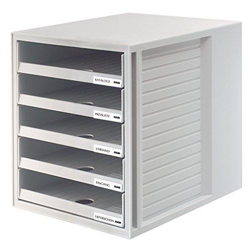 HAN 1401-11, Schubladenbox SCHRANK-SET, Innovatives, attraktives Design mit 5 offenen Schubladen, lichtgrau