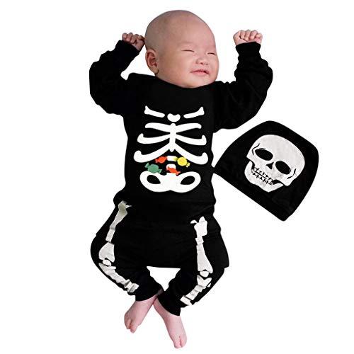ZEZKT Halloween Kostüme Baby, Schädel Drucken Strampler Overall, mit Hut Outfits Jungen Mädchen Neugeborenen Säugling Spielanzug Baby-Nachtwäsche Halloween (Kinder Schädel Ninja Kostüm)