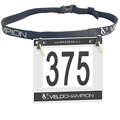 VeloChampion Triathlon Rennnummer Gürtel - zum Laufen, Radfahren, Marathons -