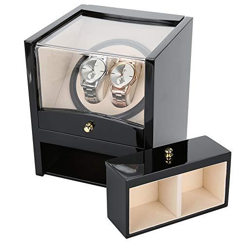 Automatischer drehbarer Uhrenwickelkoffer, Aufbewahrungskoffer für Uhr und Uhr, Klavierlack/weiches Samtfutter Kratzfeste Innenausstattung, 2 + 2 Gitter -