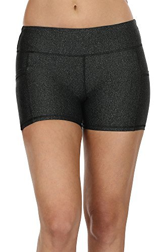 icyzone Kurz Sporthose Damen Fitness Shorts - Workout Training Tights Kurze Yogahose Jogginghose mit Taschen (L, Black)
