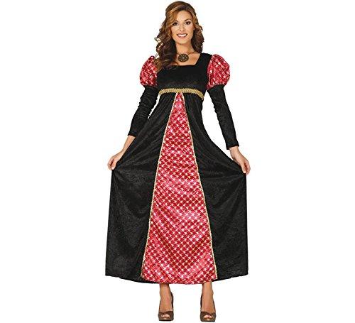 Guirca- Costume Donna Dama Adulta Medievale, Colore Rosso e Nero, L, 88680