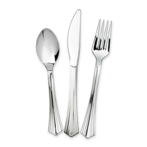 108 Piece Silver Chrome Heavy Duty Plastic Cutlery 3 x 36 - Perfect for any Party - Xmas