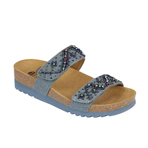 Dr. scholl zafirah ciabatta bioprint canvas + perline (35, denim)