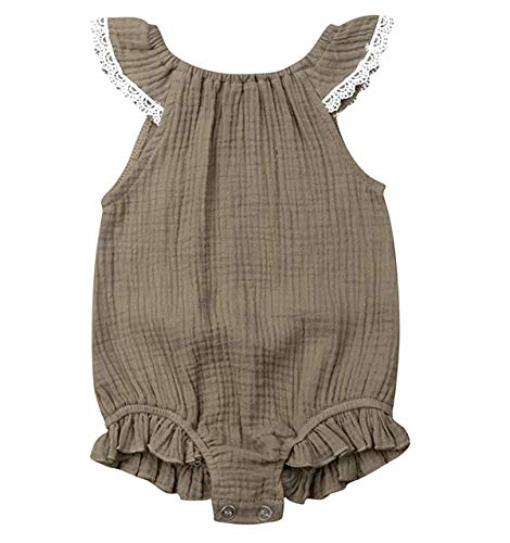 WANGSAURA Baby Mädchen Junge Ärmellos Gekräuselte Leinen Einteiliger Strampler Kleinkind Spielanzug 0-24 Monate Neugeborenes Kleidung - Säuglings-kleidung Grün