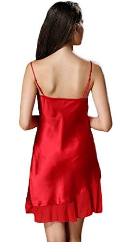 Tulpen Damen Seide Schlafkleider Spaghetti Strap Blumen Schlafanzug Rot
