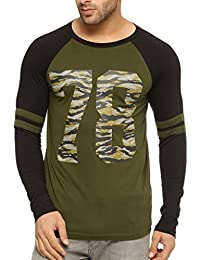 Gritstones Round Neck Full Sleeve Ranglan Printed T Shirt GSFSRGLN1288OLVGRNBLK