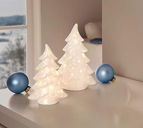 Dekoleidenschaft 2er Set LED Tannen aus Porzellan, hopchglanz weiß, Tannenbaum beleuchtet, Adventsdeko, Weihnachtsdeko