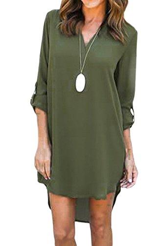 Le Donne Eleganti A Maniche Lunghe Risvolto Solido Delle Camicette Vestito Green