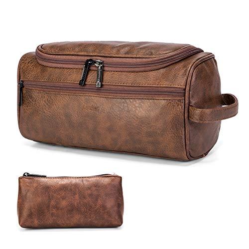 DTBG Bolsa de aseo de cuero Organizador de aseo de viaje Colgante portátil Bolsa de maquillaje Kit Dopp y bolsa de cosméticos de afeitar para hombres, mujeres (Castaño)