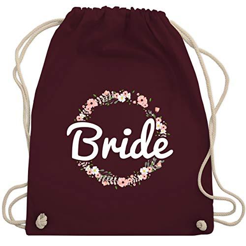 JGA Junggesellinnenabschied - Bride Blumenkranz - Unisize - Bordeauxrot - WM110 - Turnbeutel & Gym ()