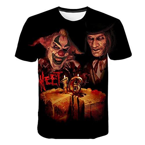 XIAOBAOZITXU T-Shirt Mode Größe Männer Und Frauen Unisex-Liebhaber Kleidung Clown-Maske Slim Fit Cooles Lustiges Sommersport-T-Shirt L (Clown Masken Cool)