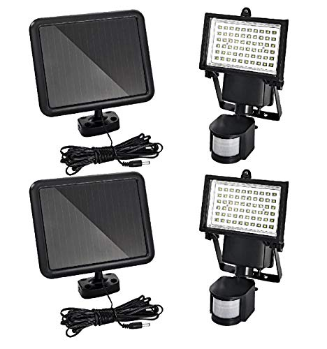Trango 2er Pack LED Solar Strahler I Solar Wandleuchte I Solar Fluter TGSOL-YF60/2 mit Bewegungsmelder I Solar Außenleuchte I Solarlampen mit Bewegungsmelder