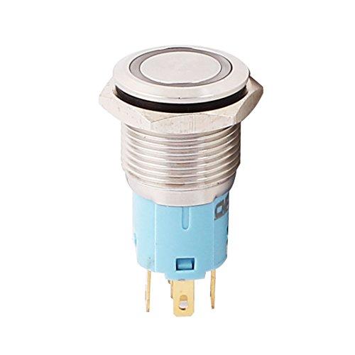 sourcingmap 220V 16mm Gewindedurchmesser blaue LED Lampe Rast Metall Taster Schalter Single-pole-licht-schalter