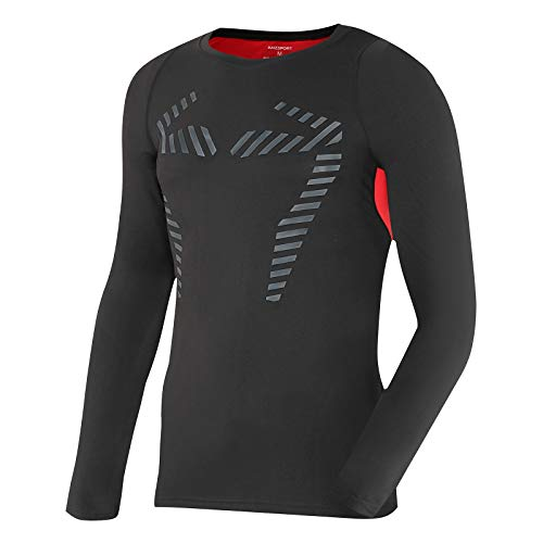 AMZSPORT Camisa de Compresión Térmica para Hombre Manga Larga Camiseta Deportiva de Invierno para Correr, Rojo L