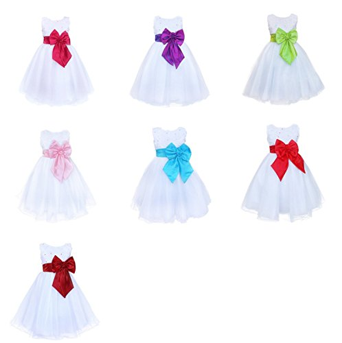 Live It Style It Girls Colour Rose Bow White Dress Flower Princess Sleeveless Formal Party Wedding Bridesmaid
