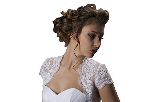 Bolero Jäckchen aus Spitze Hochzeit/Brautkleid - E402 (S, weiß)