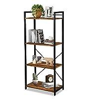 LENTIA Storage Shelves Bookshelf Industrial Bookshelf Bookcase Shelving Unit Plant Stand with Metal Frame 55 * 30 * 125cm (4 Tier, Rustic Brown)